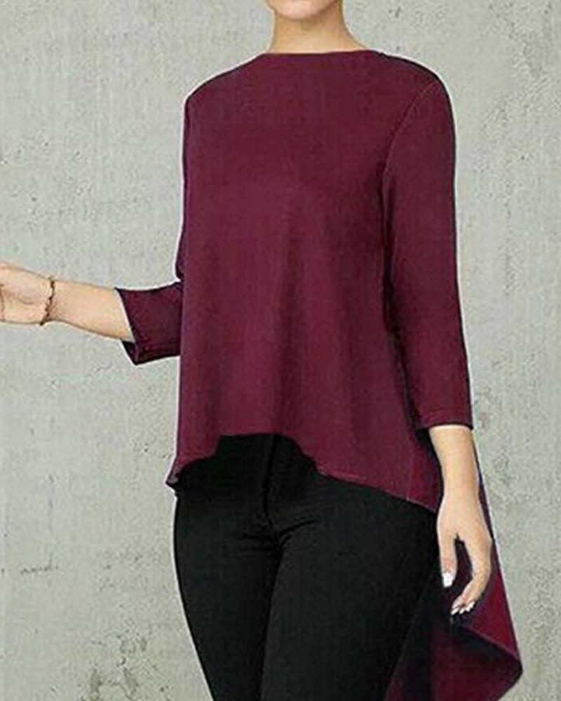 Solid Long Sleeve High Low Top