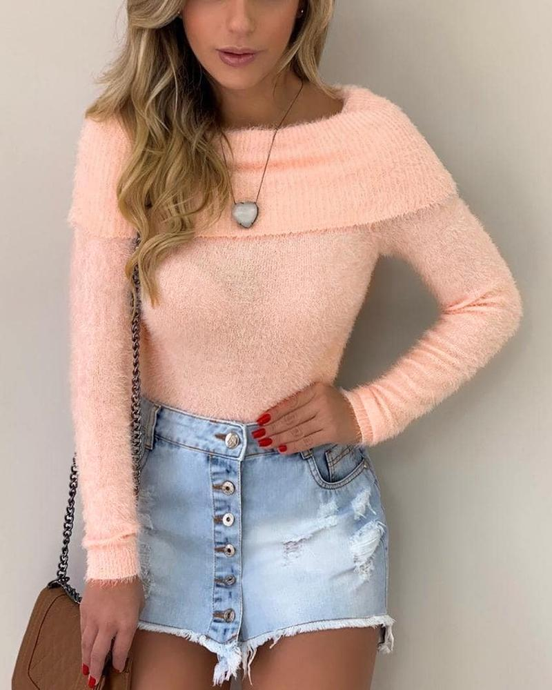Outlet26 Solid Long Sleeve Fluffy Sweater pink