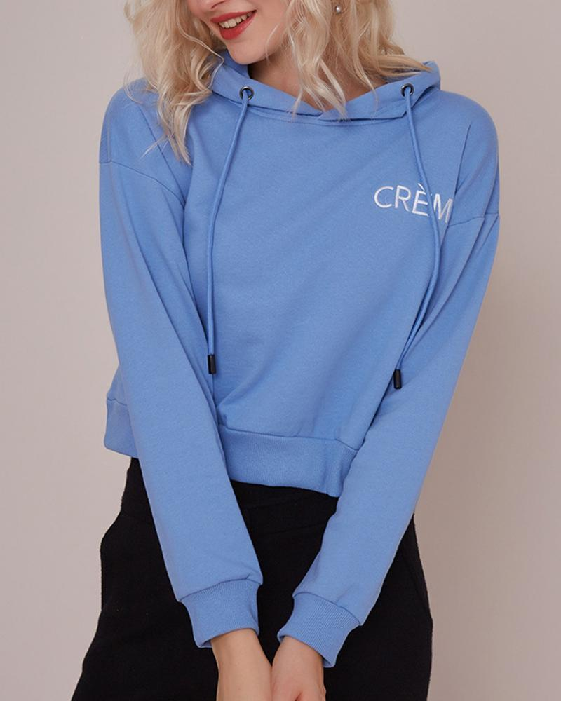 Outlet26 Embroidered Letter Long Sleeve Hoodie sky blue