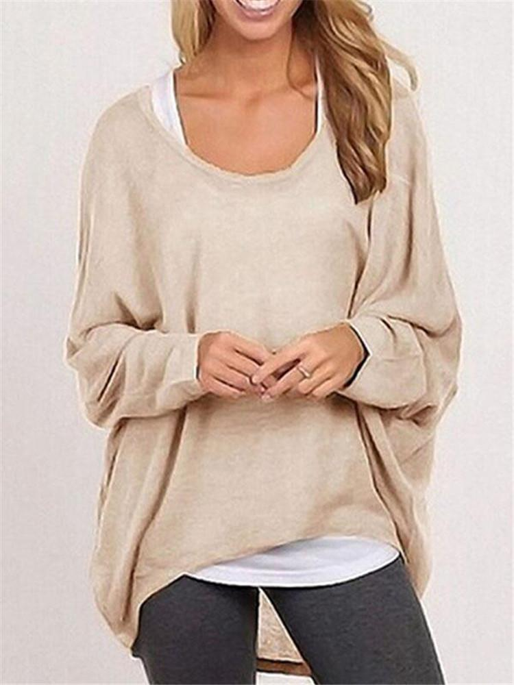 Outlet26 Fall Fashion Women's Long Sleeve Solid Color Woolen Sweater Plus Size Casual Tops Loose T-shirt Pullovers nude