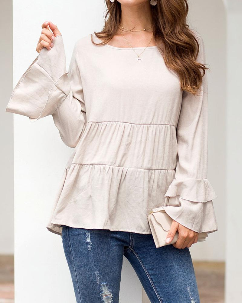 Outlet26 Round Neck Layered Ruffle Top beige