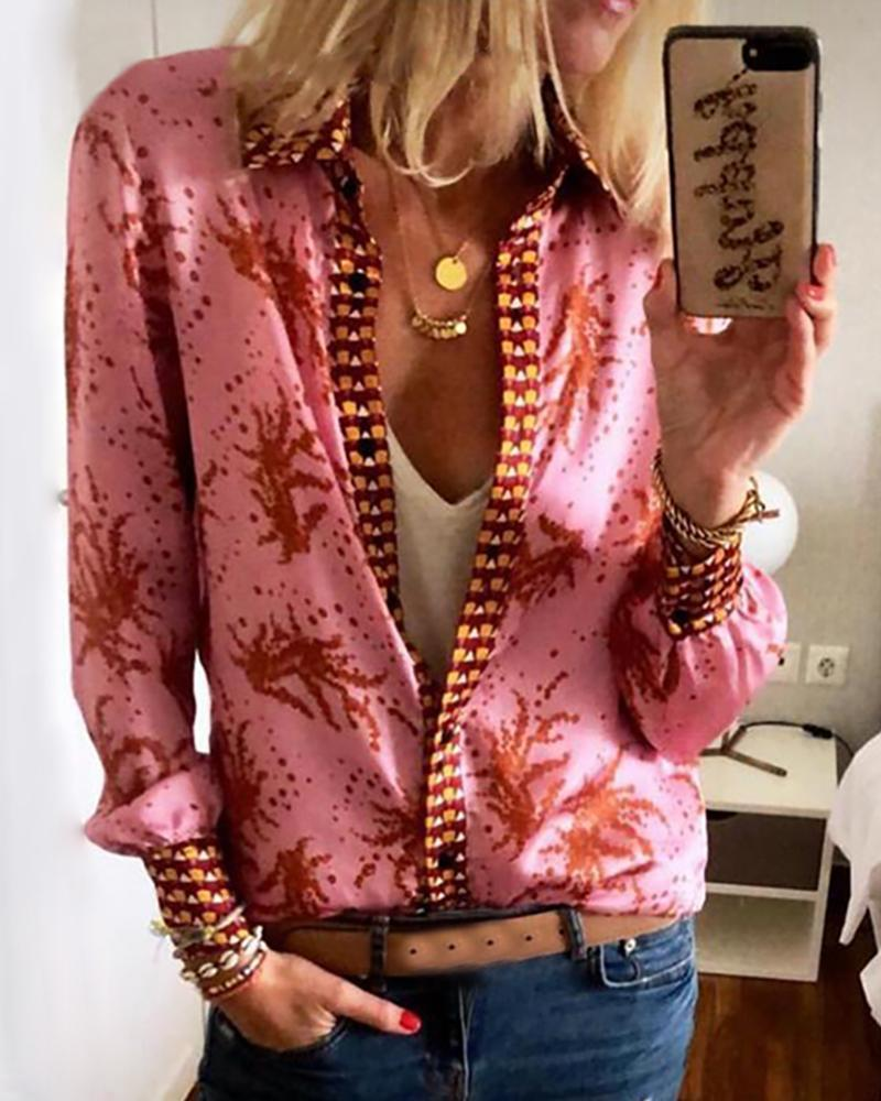 Print Long Sleeve Button Up Shirt