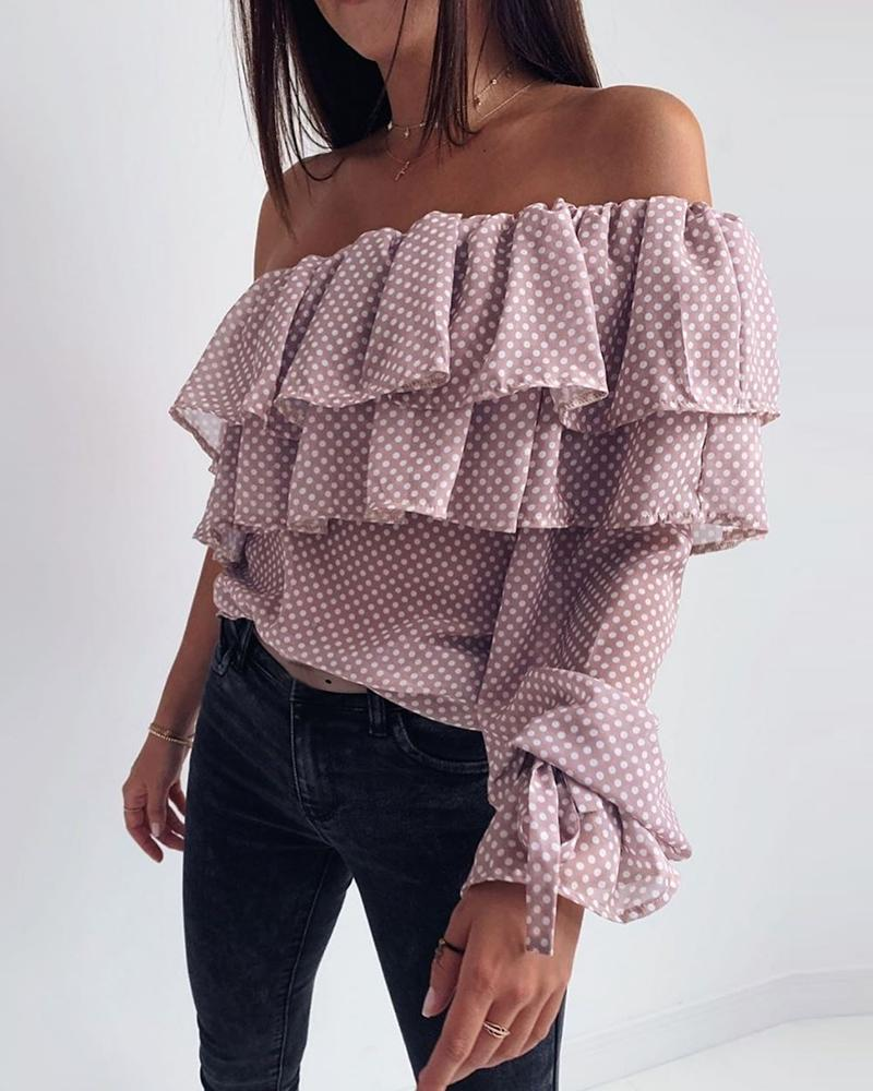 Outlet26 Dot Layered Ruffles Off Shoulder Blouse pink