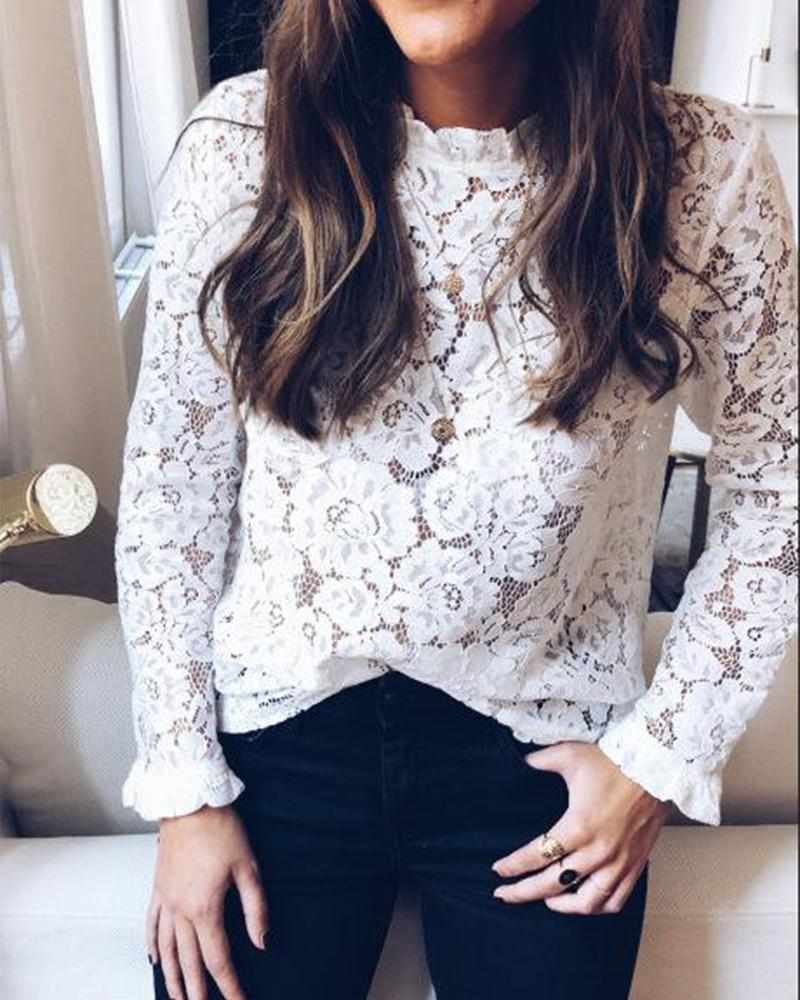 Outlet26 Round Neck Long Sleeve Lace Top white