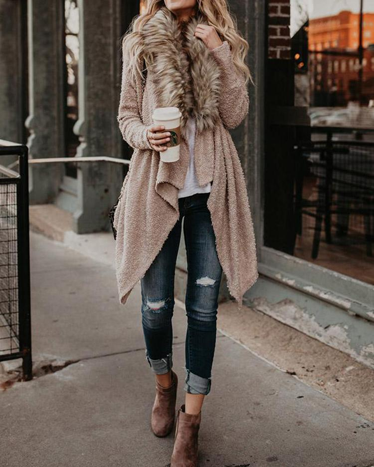 Faux Fur Pleated Irregular Cardigans Coat