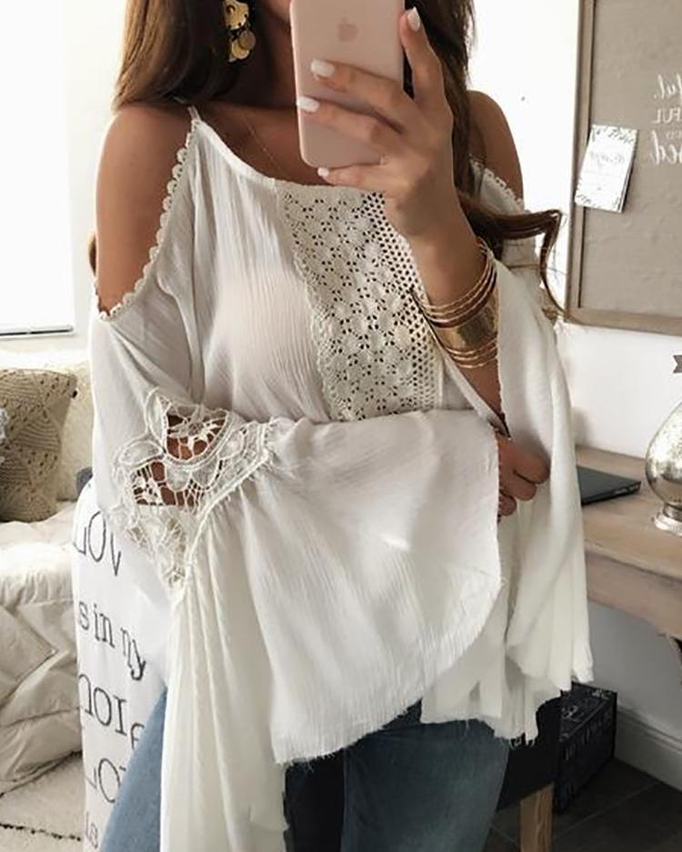 Flared Sleeve Crochet Lace Splicing Blouse