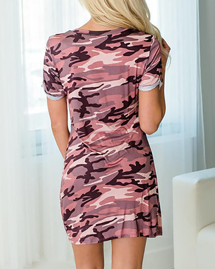 Twisted Cut Out Front Camouflage Print Mini Dress