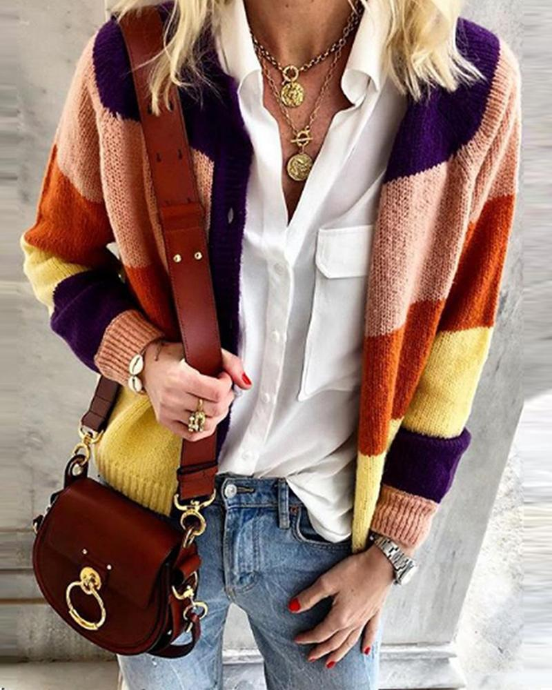 Solid Style stitching casual knit cardigan coat sweater