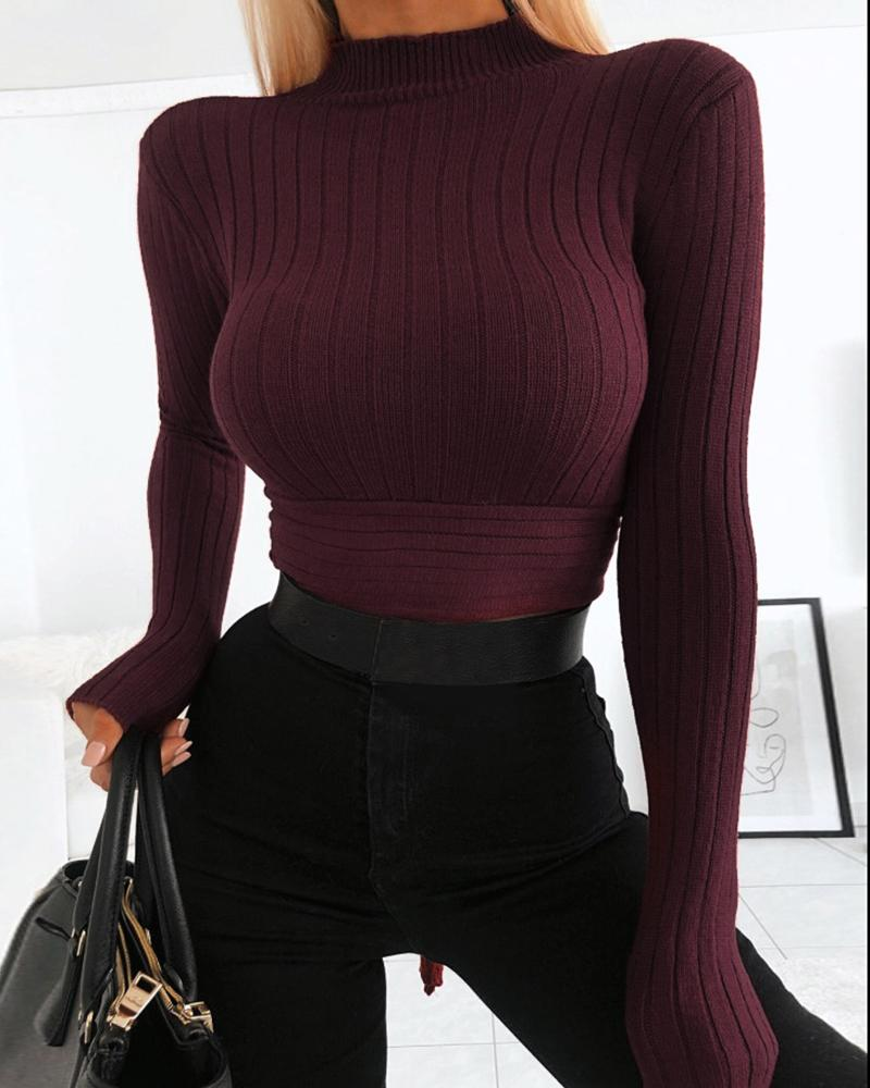 Solid Mock Neck Long Sleeve Ribbed Bowknot Tied Blouse