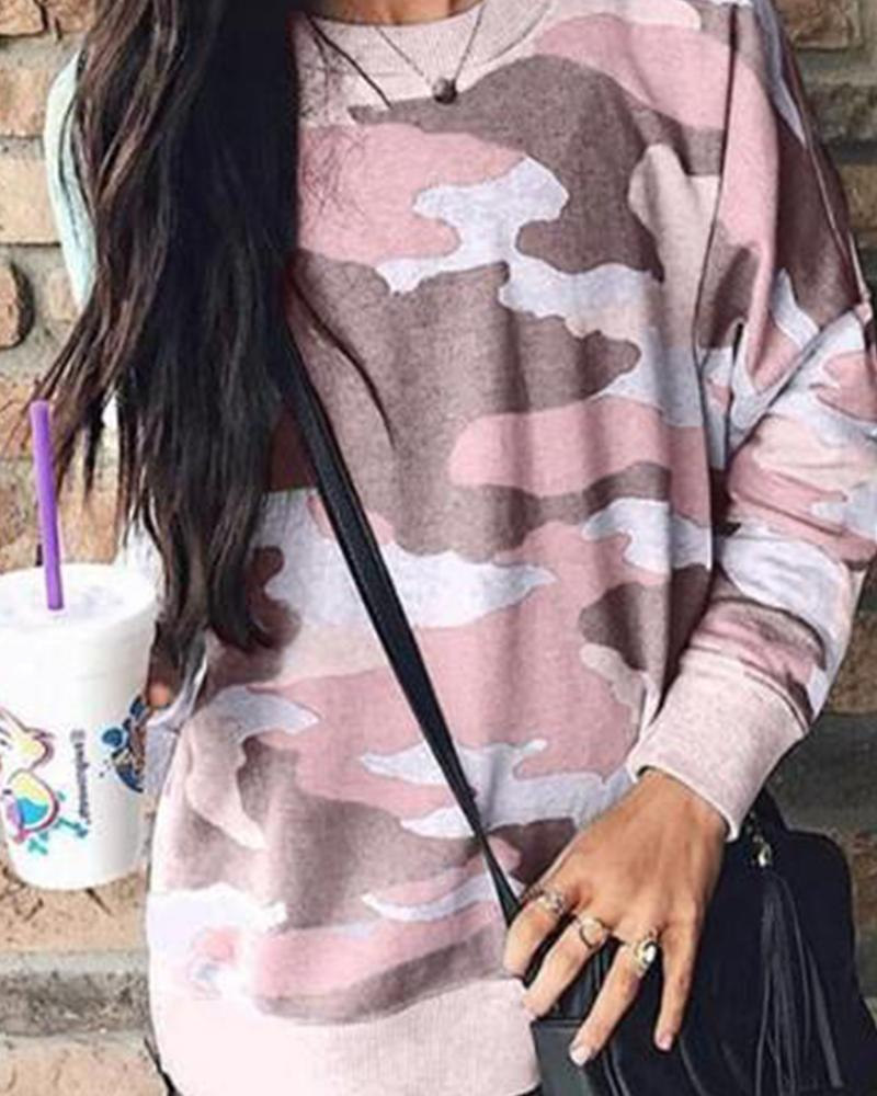 Round Neck Camouflage Print Top