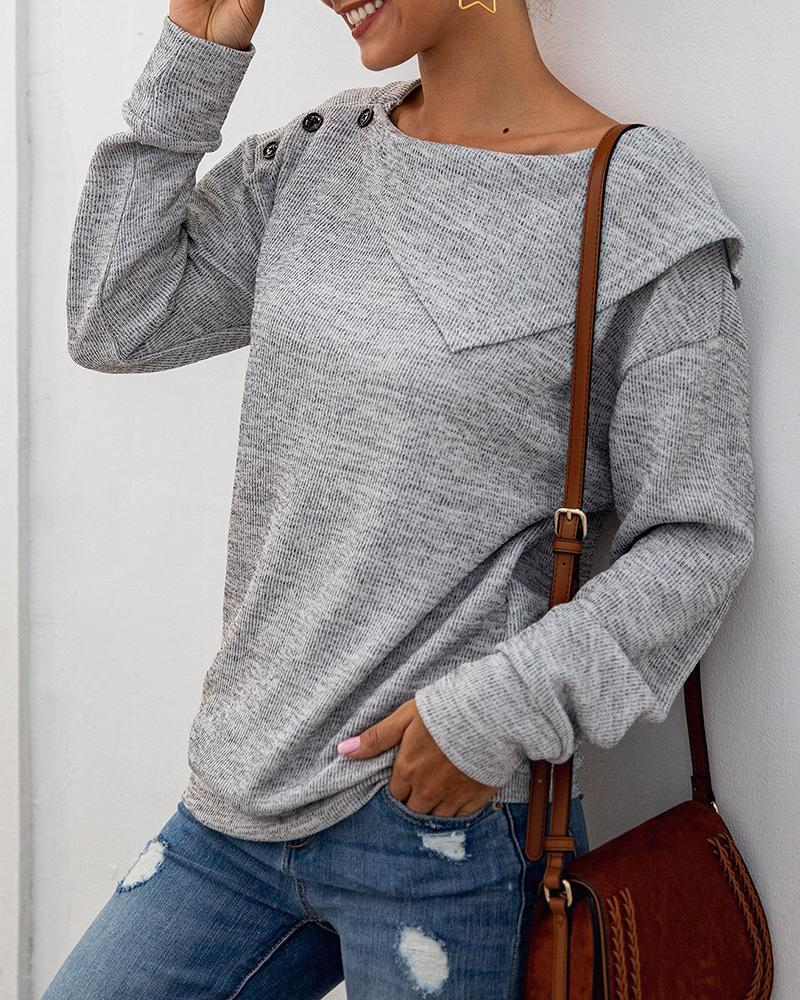 Solid Buttoned Long Sleeve Casual Blouse