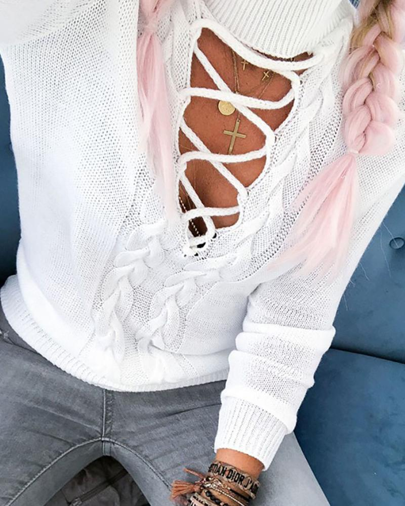High Neck Lace-Up Front Knitted Sweater