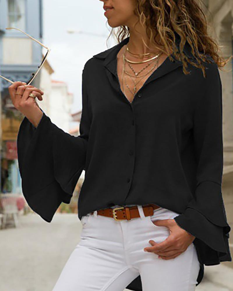 Outlet26 Turn-down Collar Long Sleeve Blouse black