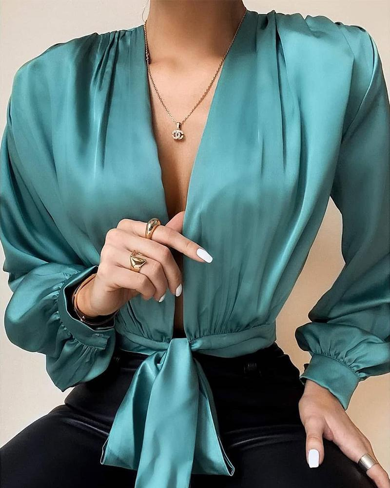 Deep V Tie Waist Satin Top