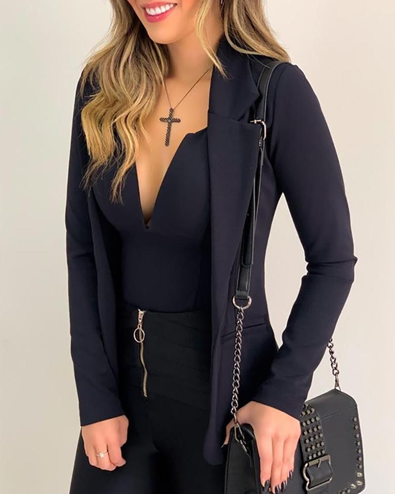 Solid Bodysuit &Long Sleeve Blazer Coat Set