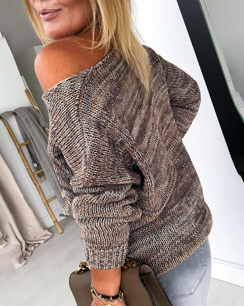 V Neck Long Sleeve Knitting Casual Sweater