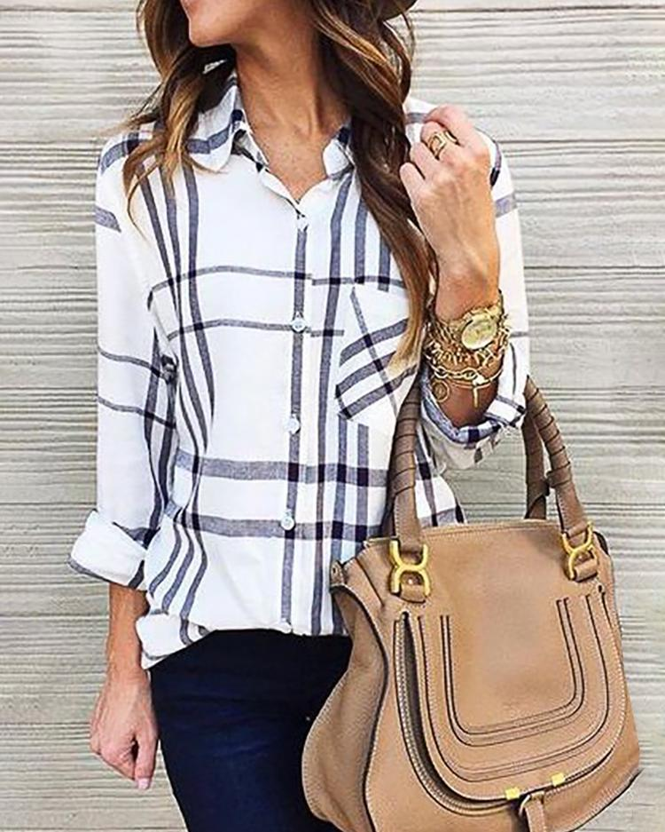 Plaid Button Design Chest Pocket Casual Blouse