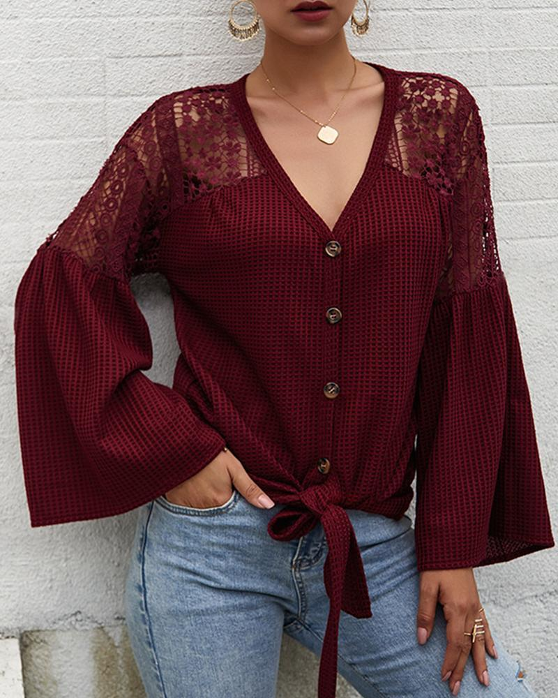 V Neck Button-Up Lace Cardigan