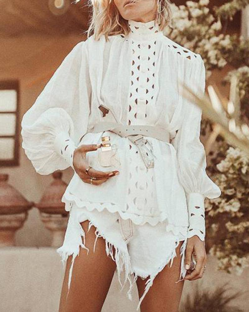 2019 new fashion long sleeve vintage blouse