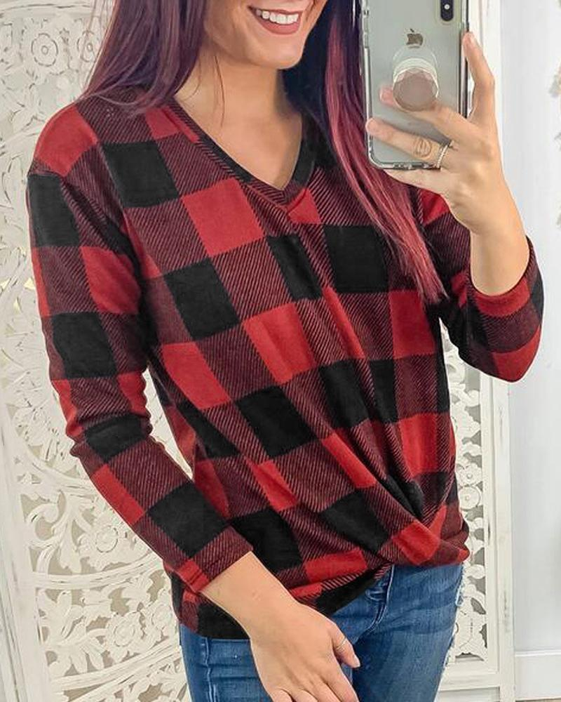 Outlet26 V Neck Long Sleeve Plaid Top red