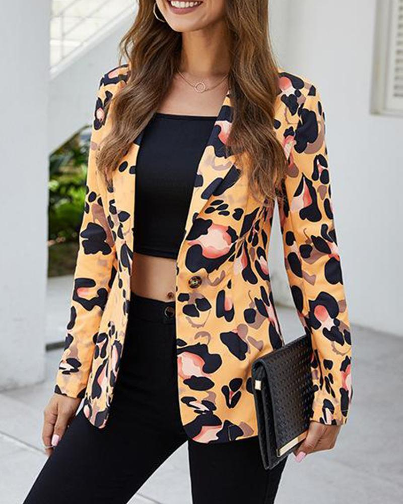 Outlet26 One Button Leopard Print Blazer yellow