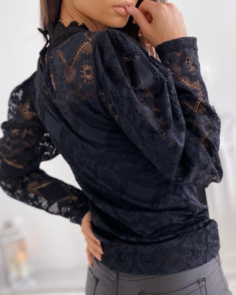 Mesh Eyelash Lace Hollow Out Blouse
