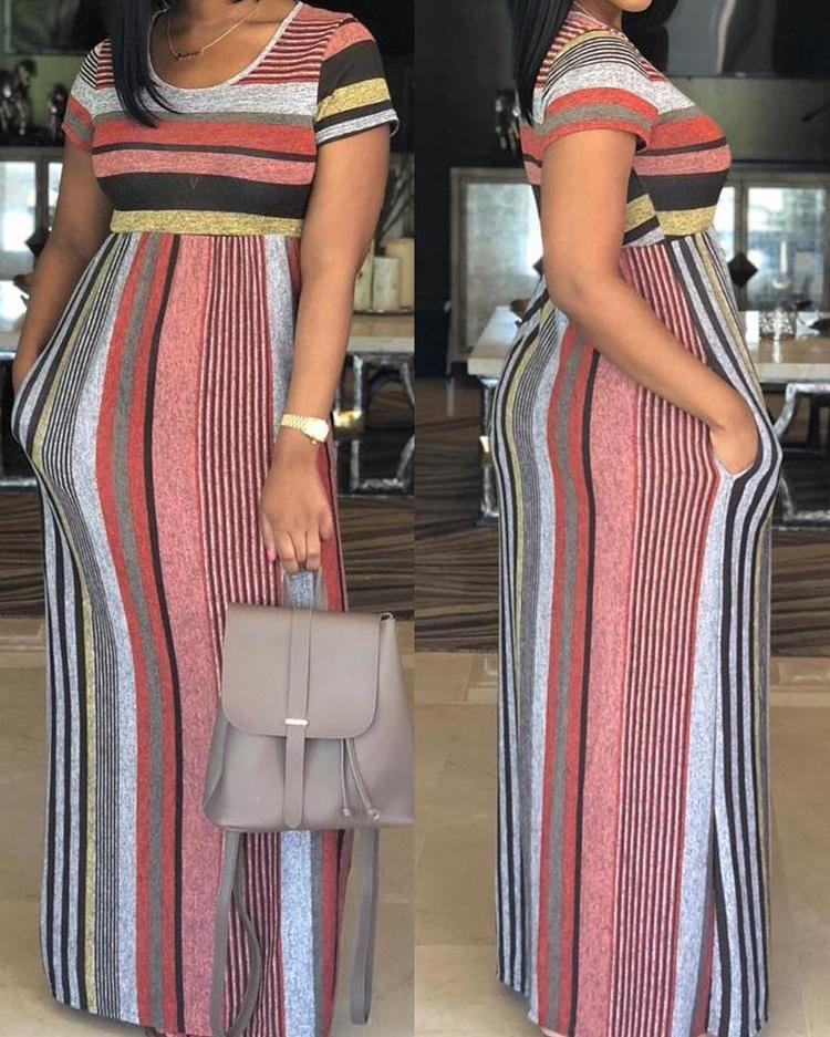 Outlet26 Fashion Colorful Striped Patchwork Maxi Dress Multicolor