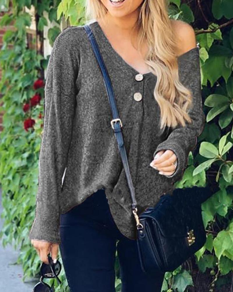 Button Detail Casual Knit Top