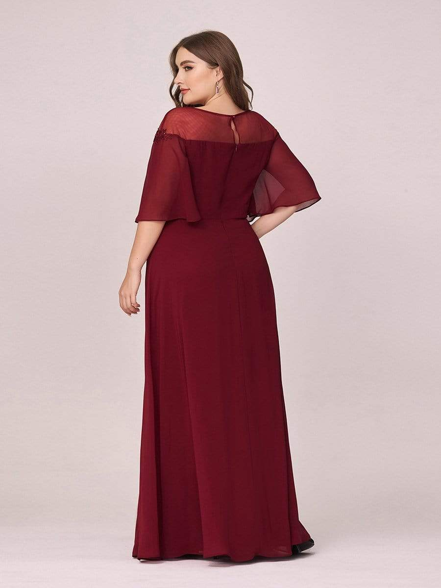 Women's Fluttering A-Line Chiffon Plus Size Evening Dress