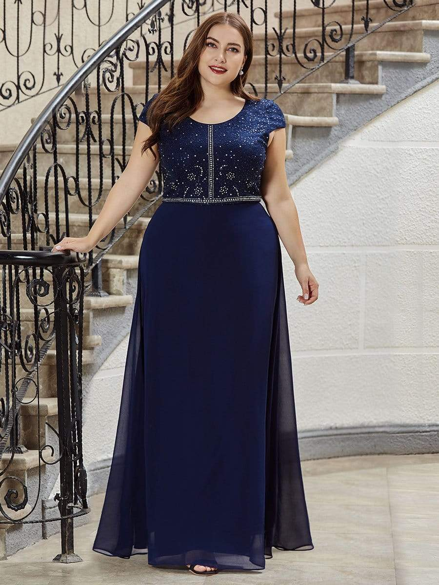 Classic Round Neck A-line Plus Size Chiffon Prom Dress for Women