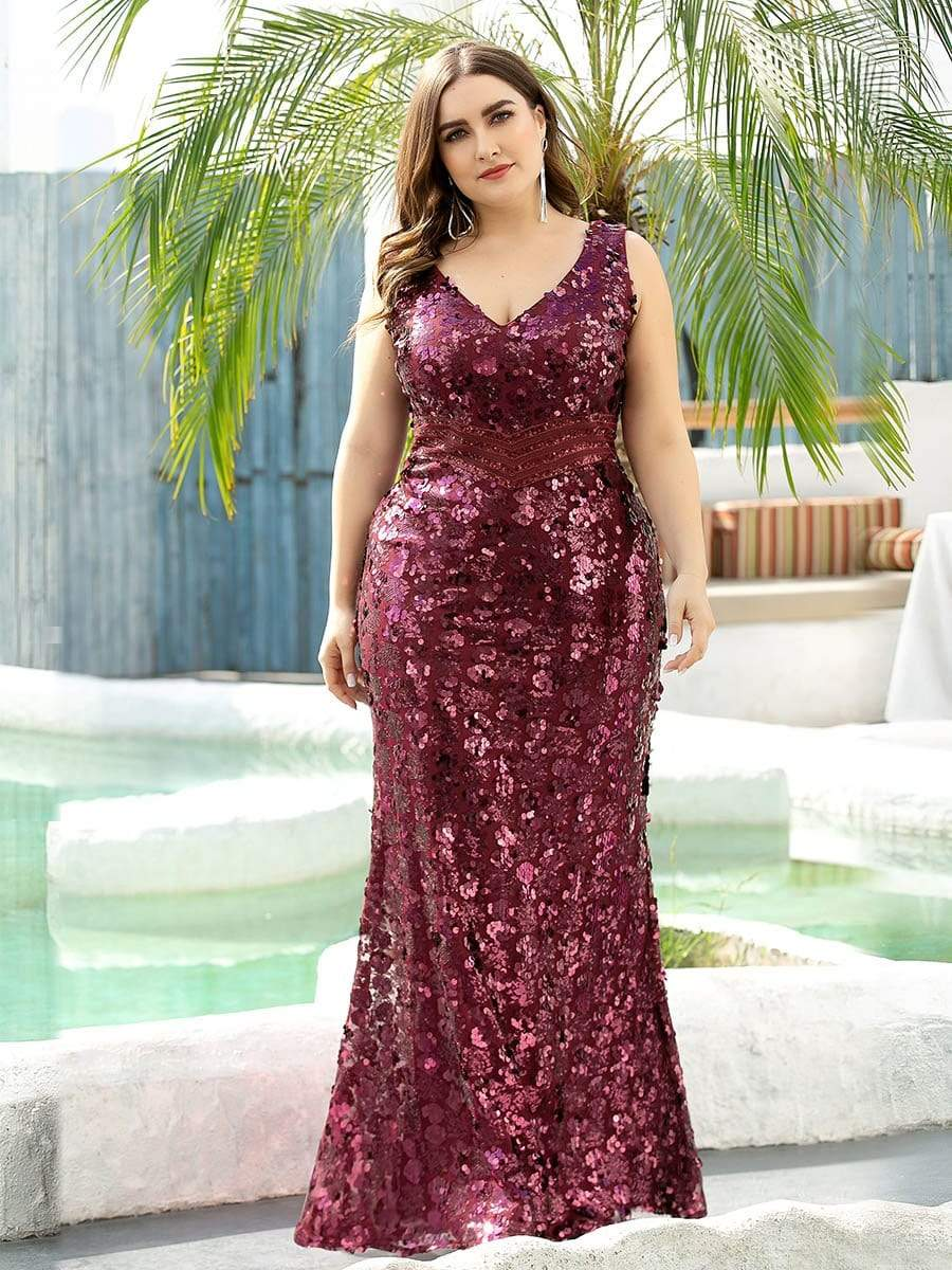 Plus Size Maxi Long V Neck Mermaid Sequin Prom Dresses for Women