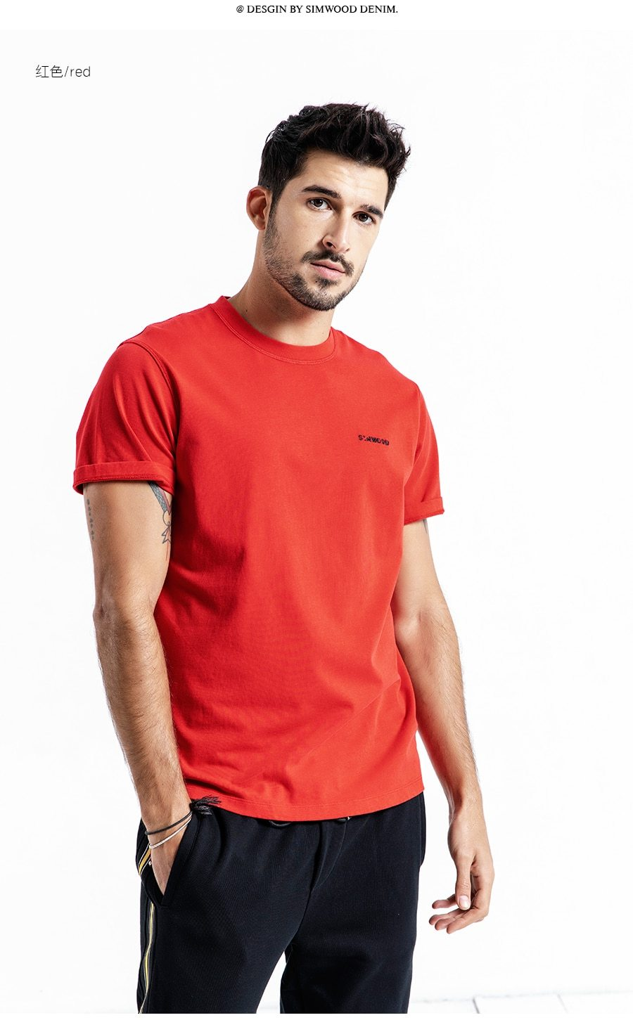 T-Shirt Men 100% Cotton Embroidered Casual t shirt Basics O-neck High