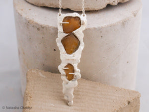 Amber seaglass trio silver necklace