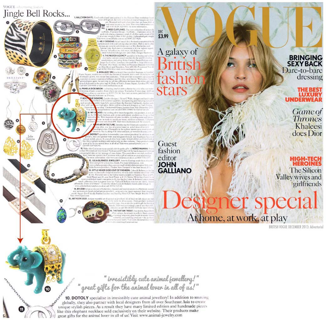 British VOGUE on DOTOLY the Animal Jewelry Store