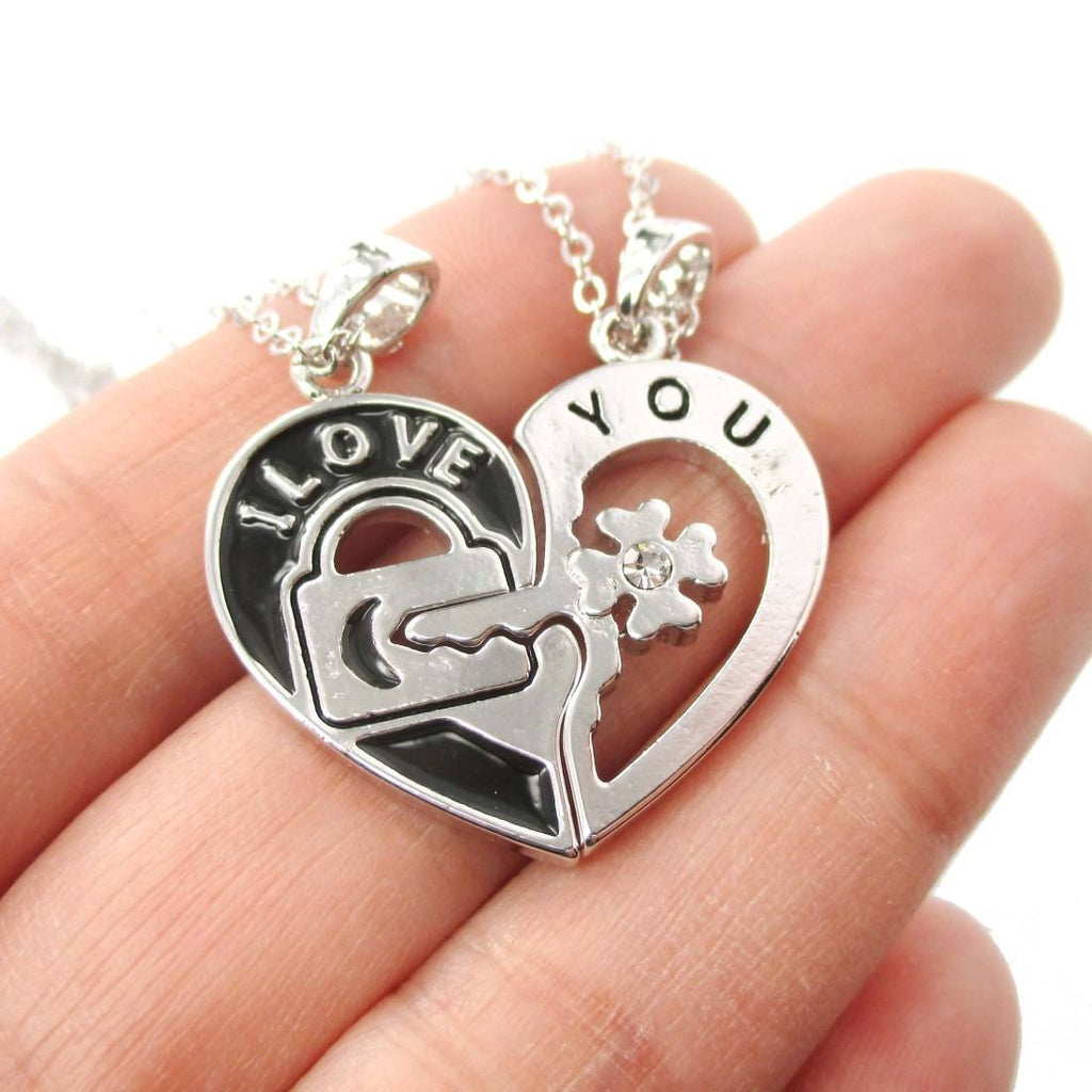 """Home Design 3d Gold Ideas: 2 PIece Heart Shaped Lock And Key """"I Love You"""" Necklace In"""