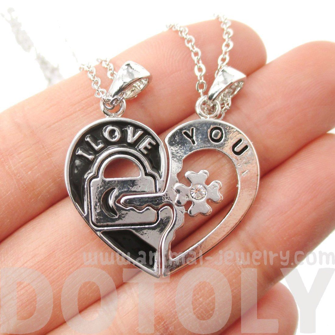 "2 PIece Heart Shaped Lock and Key ""I Love You"" Necklace in Silver"