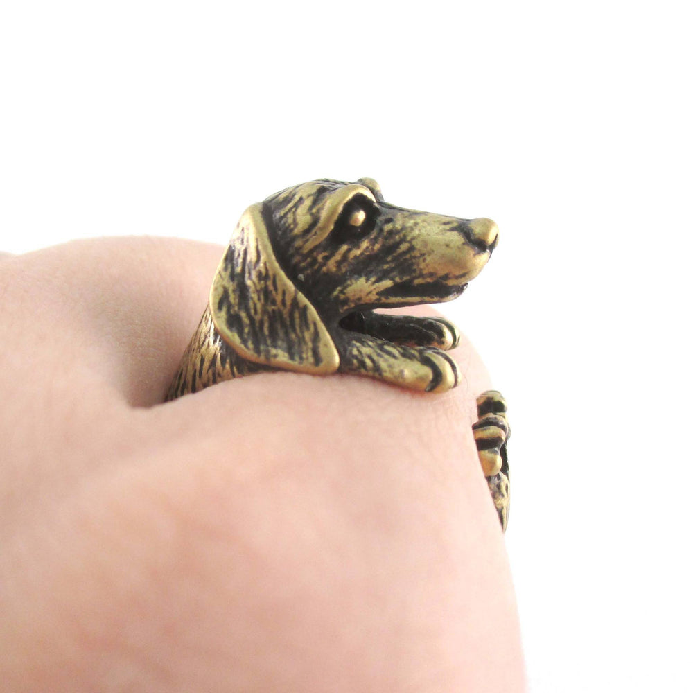 3D Dachshund Sausage Dog Shaped Animal Ring in Brass
