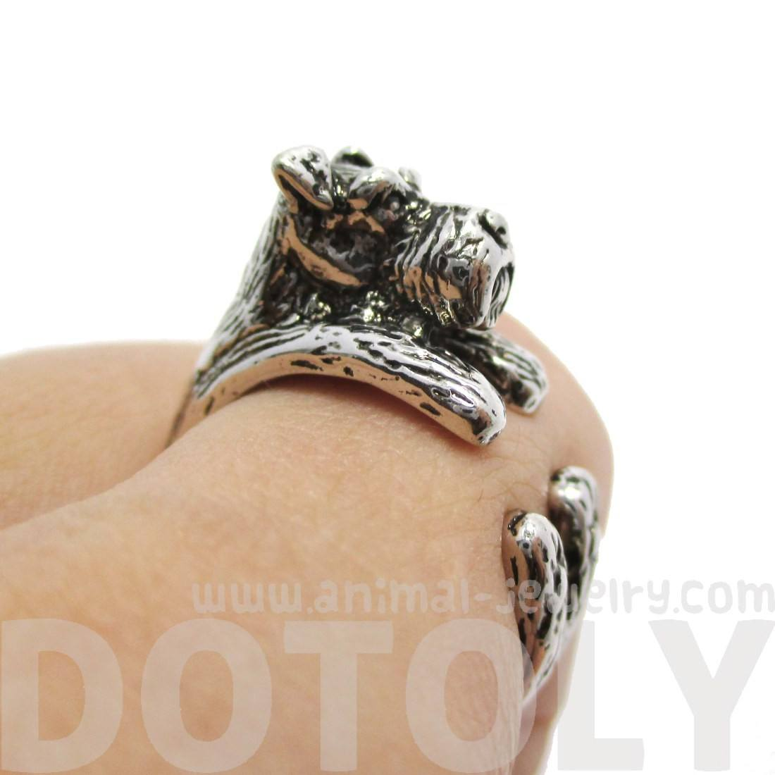 Schnauzer Dog Shaped Animal Wrap Ring in Shiny Silver