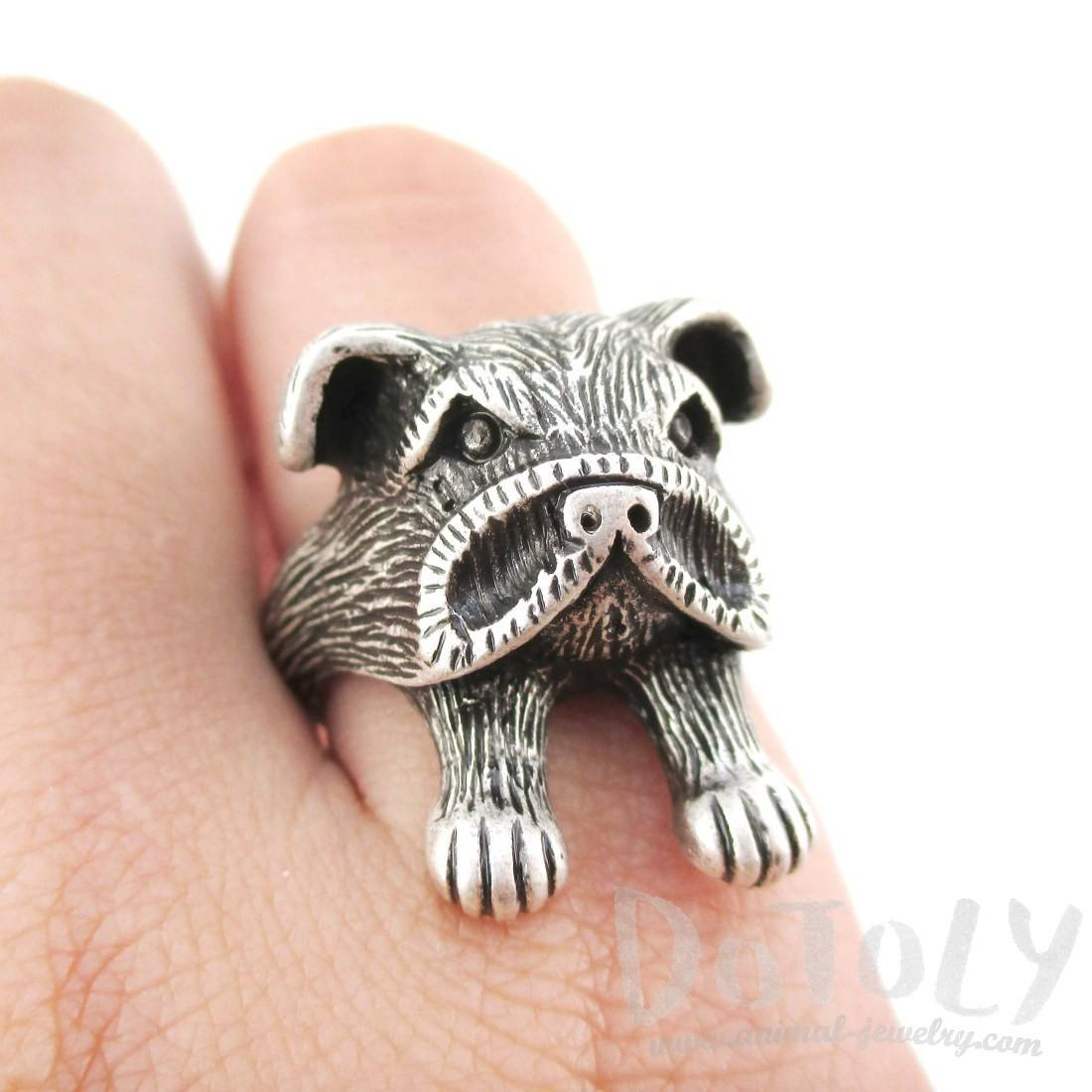 3D American Bulldog Head Shaped Animal Ring in Silver