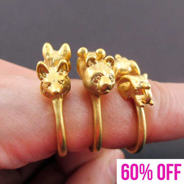 Animal Totem Rings in the Shape of a Panda Wolf and Elephant in Gold