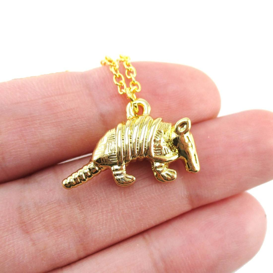 3D Armadillo Shaped Pendant Necklace in Gold | DOTOLY