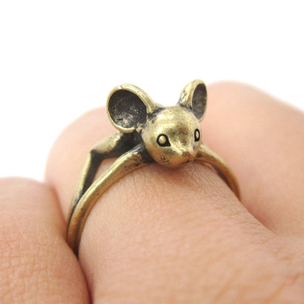 3D Baby Bat Shaped Animal Knuckle Wrap Ring in Brass