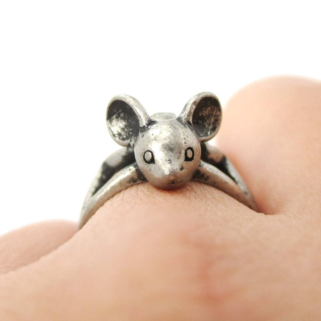 3D Baby Bat Shaped Animal Knuckle Wrap Ring in Silver