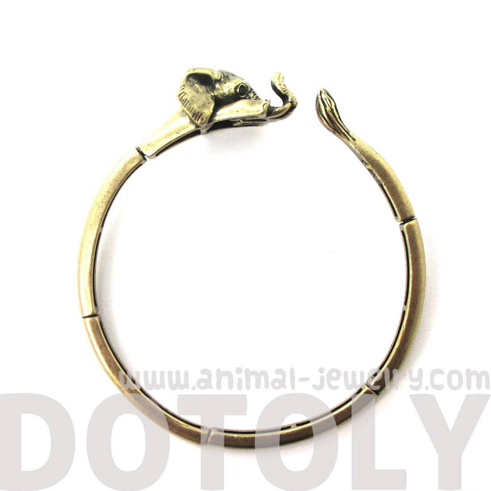 3D Elephant Wrapped Around Your Wrist Shaped Bangle Bracelet in Brass