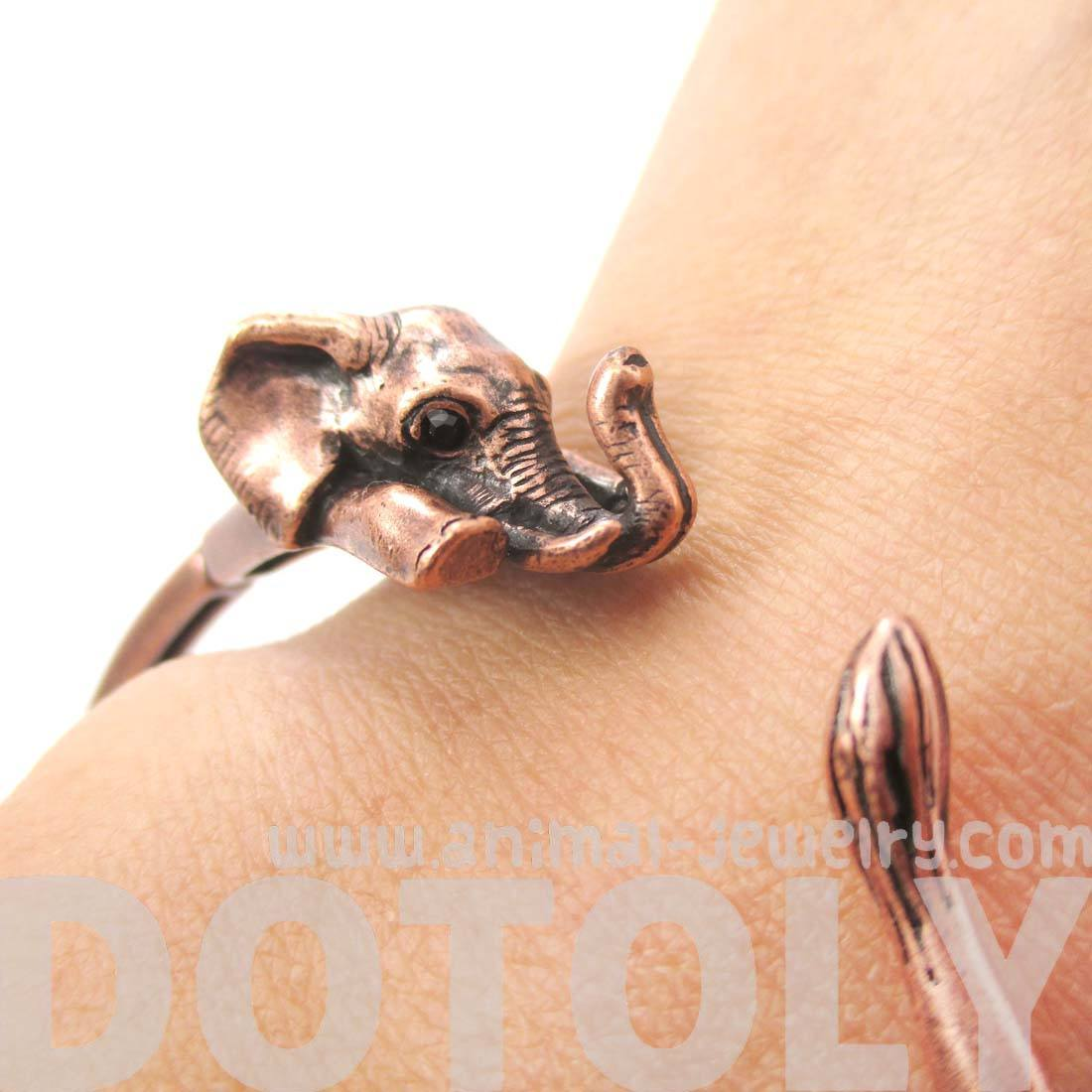 3D Elephant Wrapped Around Your Wrist Shaped Bangle Bracelet in Copper