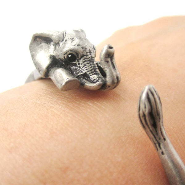 3D Baby Elephant Wrapped Around Your Wrist Shaped Bangle Bracelet in Silver | DOTOLY
