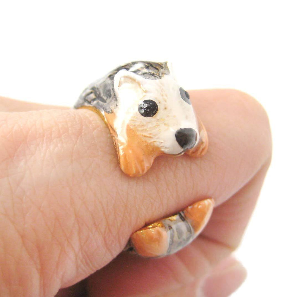 3D Baby Hedgehog Porcupine Shaped Enamel Animal Ring in Size 6 and 7