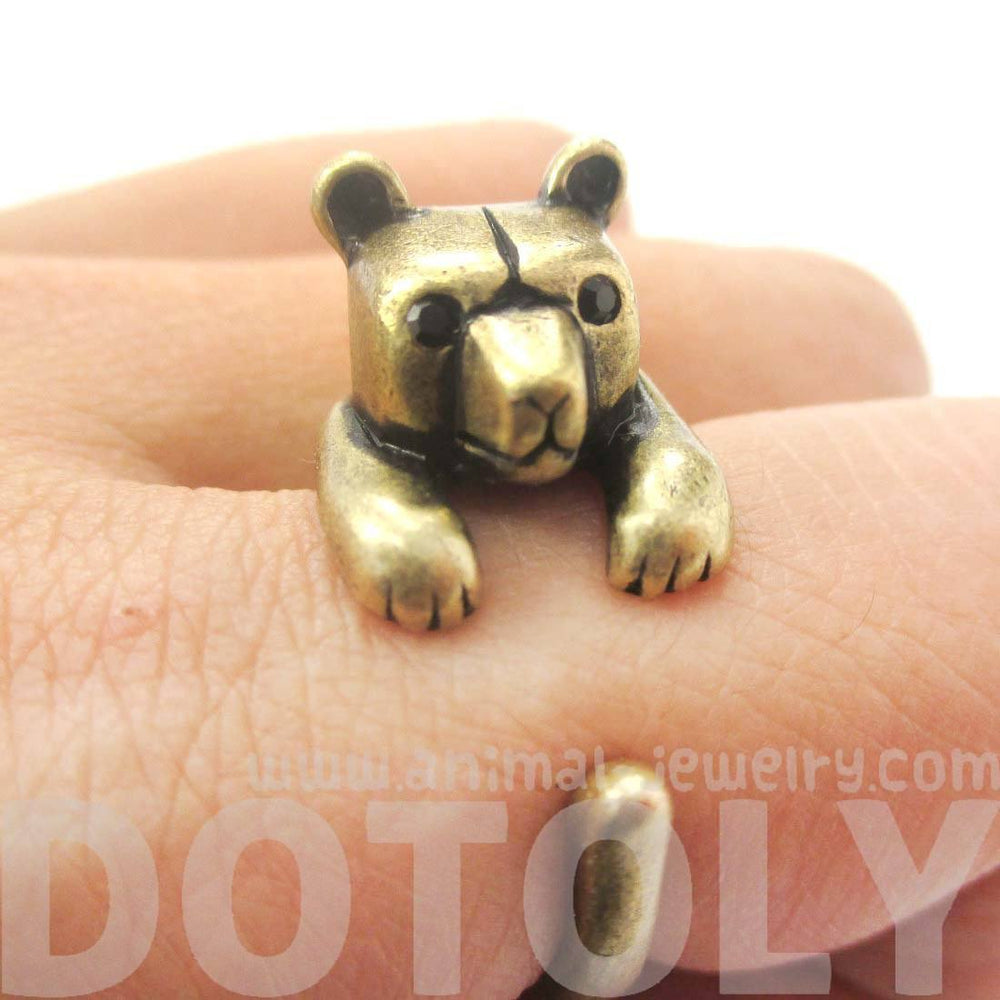 3D Baby Polar Bear Wrapped Around Your Finger Shaped Animal Ring in Brass | US Size 4 to 8.5 | DOTOLY