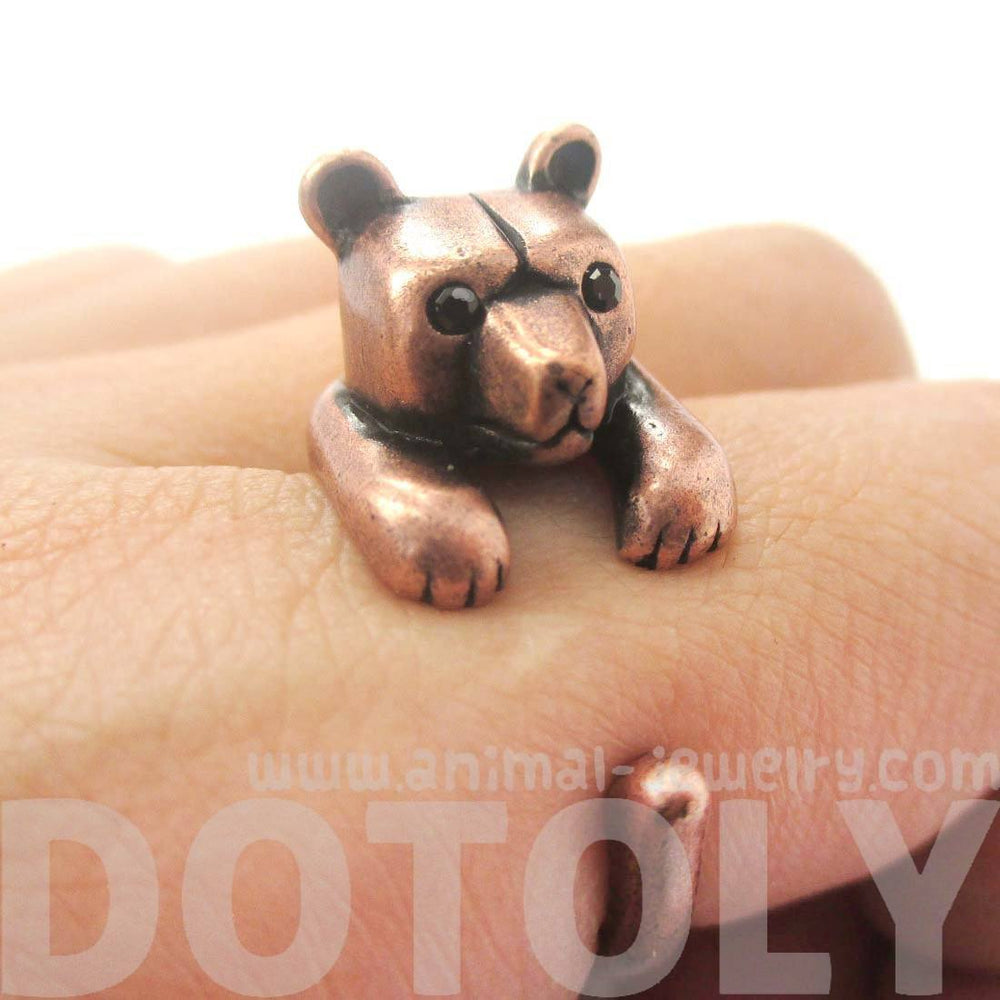 3D Polar Bear Wrapped Around Your Finger Shaped Animal Ring in Copper