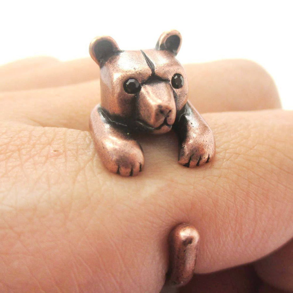 3D Baby Polar Bear Wrapped Around Your Finger Shaped Animal Ring in Copper | US Size 4 to 8.5 | DOTOLY
